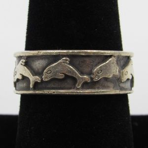 Vintage Size 8.5 Sterling Rustic Dolphin Band Ring
